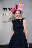 Myer Fashions on the Field 2015 National winner Emily Hunter poses on Crown Oaks Day at Flemington Racecourse on November 5 2015 in Melbourne...