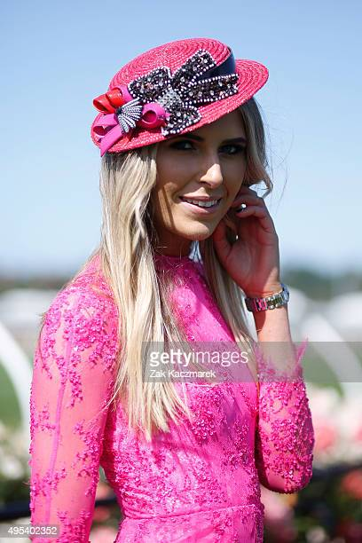 Myer Fashions on the Field Ambassador Georgia Connolly poses on Melbourne Cup Day at Flemington Racecourse on November 3 2015 in Melbourne Australia