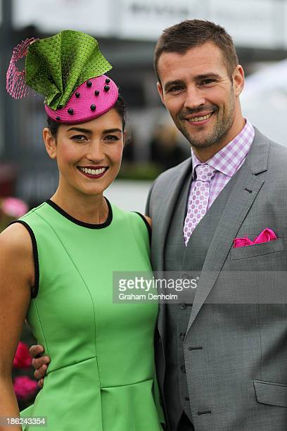 Myer Fashions on the Field Ambassador Rebecca Bramich and Myer Ambassador Kris Smith pose at the Myer Fashions on the Field Launch at Flemington...