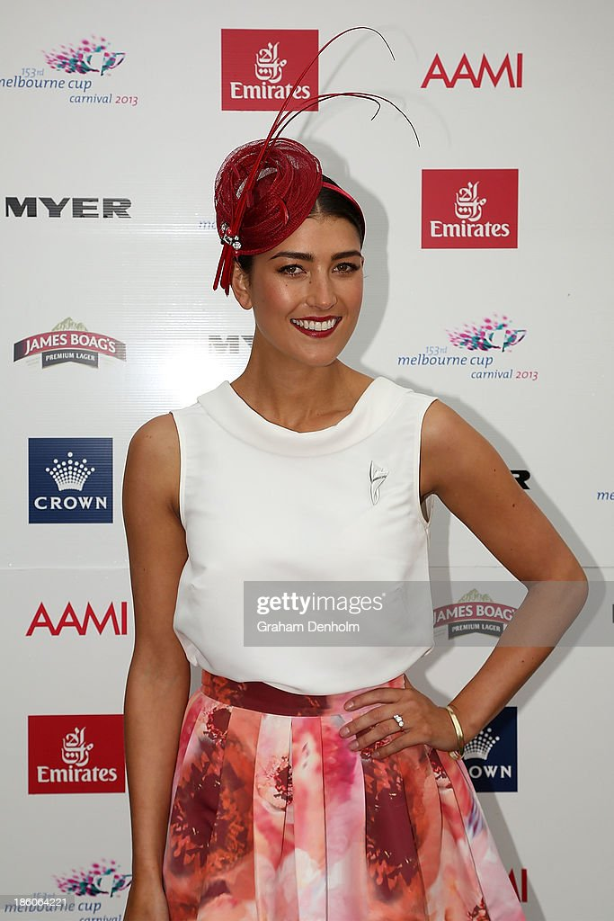 Myer Fashions on the Field Ambassador Rebecca Bramich poses at the 2013 Melbourne Cup Carnival Launch at Flemington Racecourse on October 28, 2013 in Melbourne, Australia.