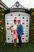 Myer Fashions on the Field Ambassador Rebecca Bramich poses with 2013 Emirates Stakes Day Fashion on the Field Ambassador Johnny Ruffo at the 2013...