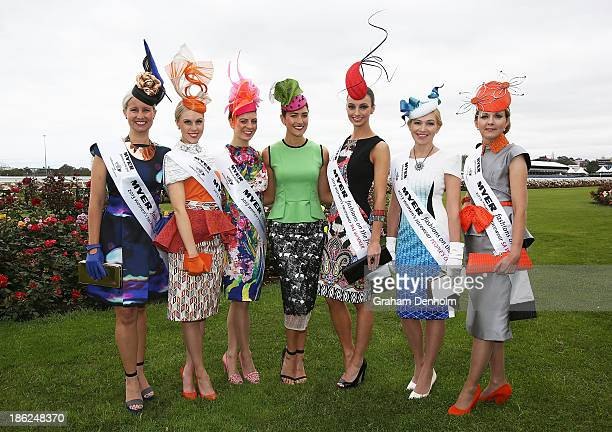 Myer Fashions on the Field Ambassador Rebecca Bramich poses with the 2013 National Competition Interstate Finalists Jennifer Marsh Elena Gold Kelli...
