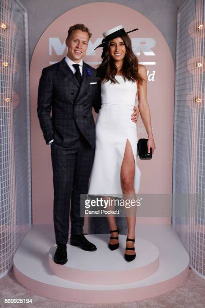 Myer Fashions on the Field Ambassadors Rebecca Harding and Dalton Graham pose at The Park on AAMI Victoria Derby Day at Flemington Racecourse on...