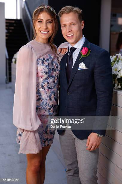 Myer Fashions on the Field Ambassadors Rebecca Harding and Dalton Graham pose on Kennedy Oaks Day at Flemington Racecourse on November 9 2017 in...