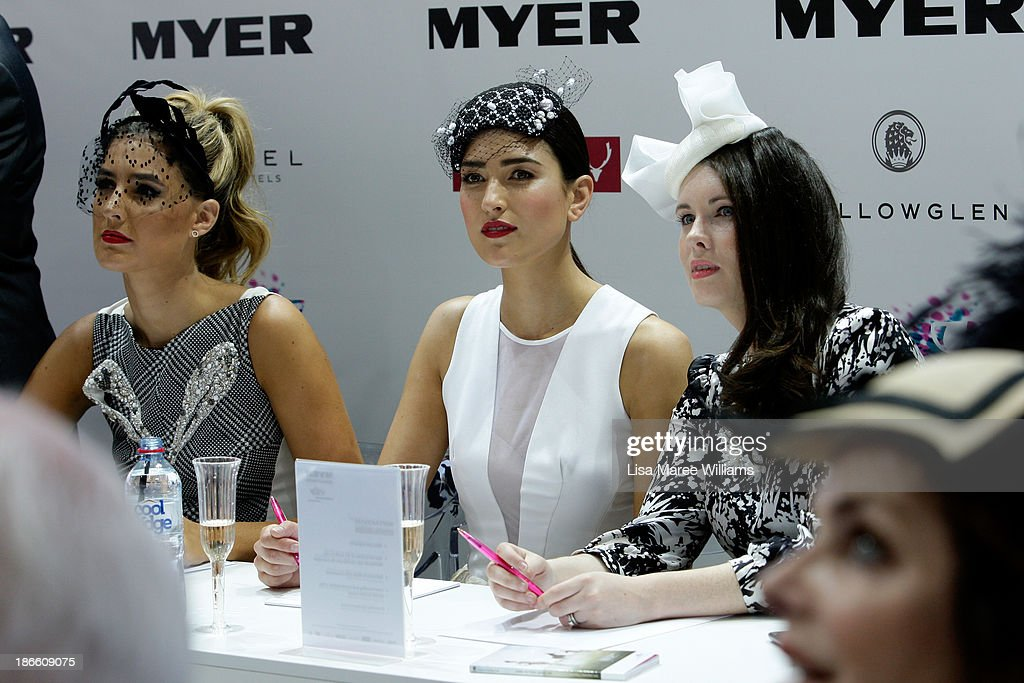 Myer Fashions on the Field judges, Laura Dundovic, and Bec Bramich on Victoria Derby Day at Flemington Racecourse on November 2, 2013 in Melbourne, Australia.