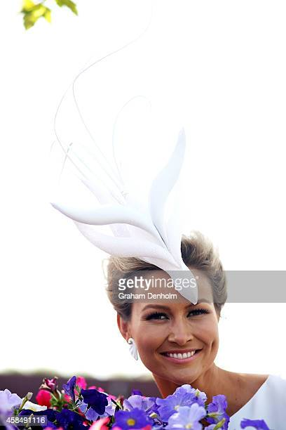 Myer Fashions on the Field Millinery Award Grand Final winner Bree Laughlin poses on Oaks Day at Flemington Racecourse on November 6 2014 in...