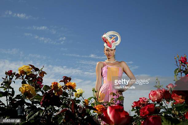 Myer Fashions on the Field National Winner Chloe Moo poses on Melbourne Cup Day at Flemington Racecourse on November 4 2014 in Melbourne Australia