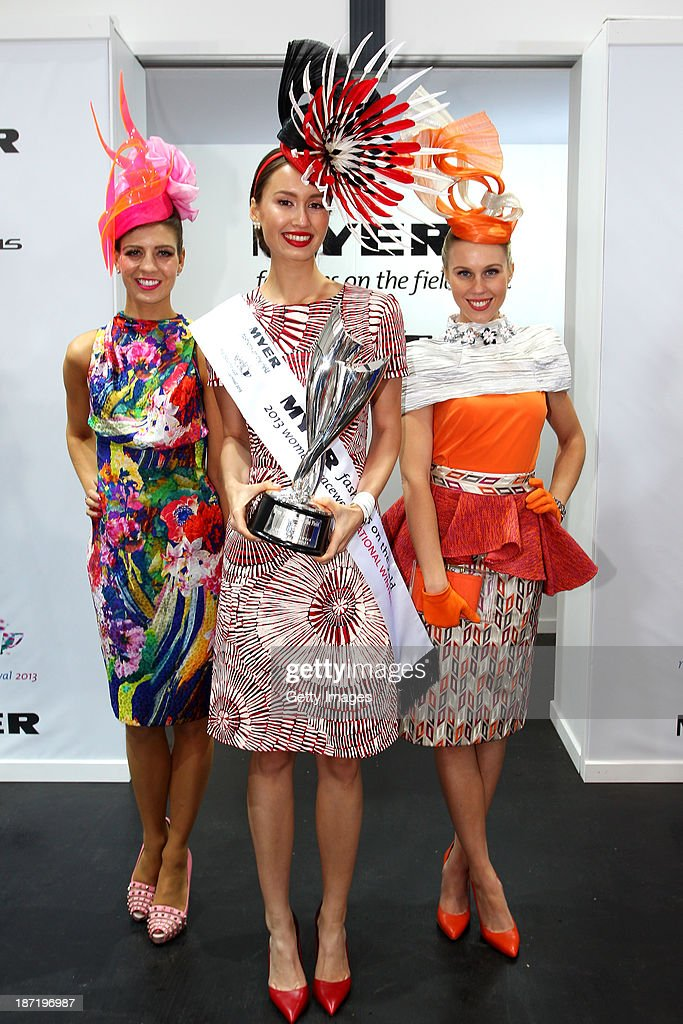 Myer Fashions on the Field National Winner, Chloe Moo poses with first runner up Kelly O'Dell (L) and second runner up Crystal Kimber during Crown Oaks Day at Flemington Racecourse on November 7, 2013 in Melbourne, Australia.