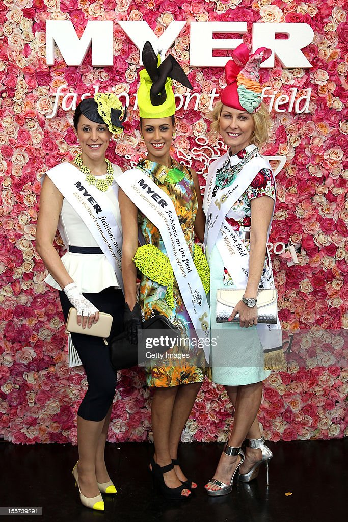 Myer Fashions on the Field National Women's Racewear Finalists Emma Reynolds, Amy Robson and Amanda Macor pose on Crown Oaks Day at Flemington Racecourse on November 8, 2012 in Melbourne, Australia.