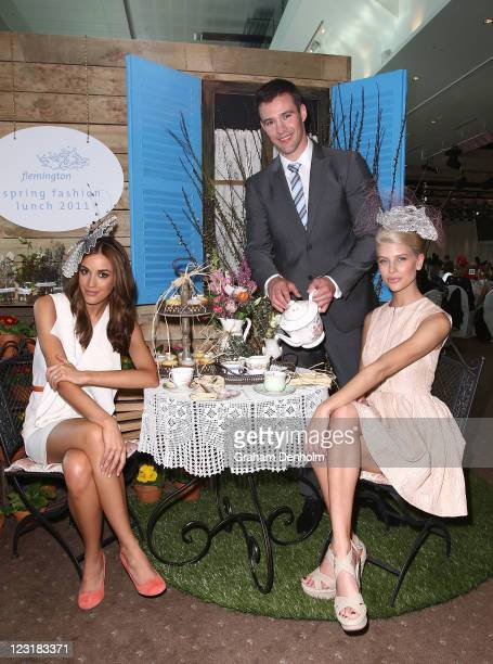 Myer Racing Ambassadors Rebecca Judd and Kris Smith pose with the face of Melbourne Spring Fashion Week Sophie Van Den Akker at the Flemington Spring...