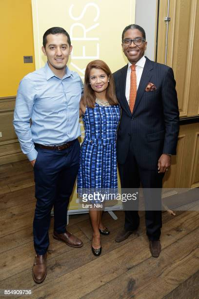 Myght Inc Founder Javier Valdez Fathom Traveler Marie Wicks and Social Entrepreneur Reginald Canal attend the LightWorkers Crosby launch event at...