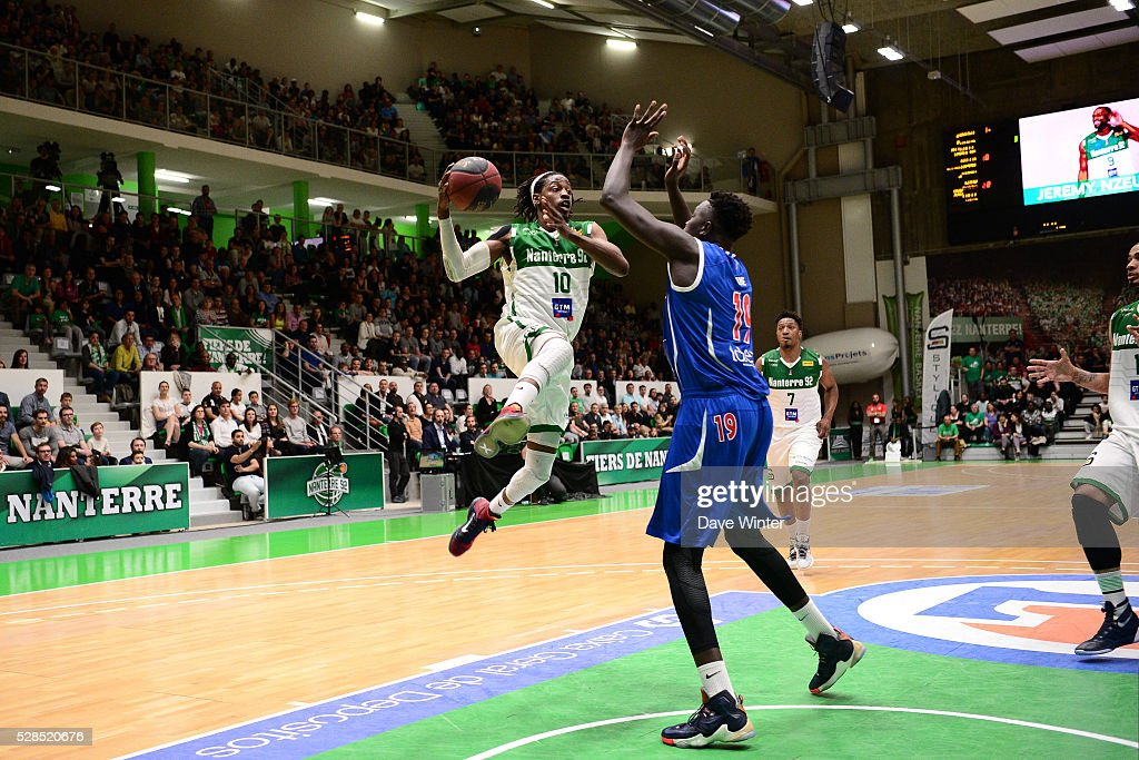 Mykal Riley of Nanterre and Landing Sane of Paris Levallois during the basketball French Pro A League match between Nanterre and Paris Levallois on May 5, 2016 in Nanterre, France.