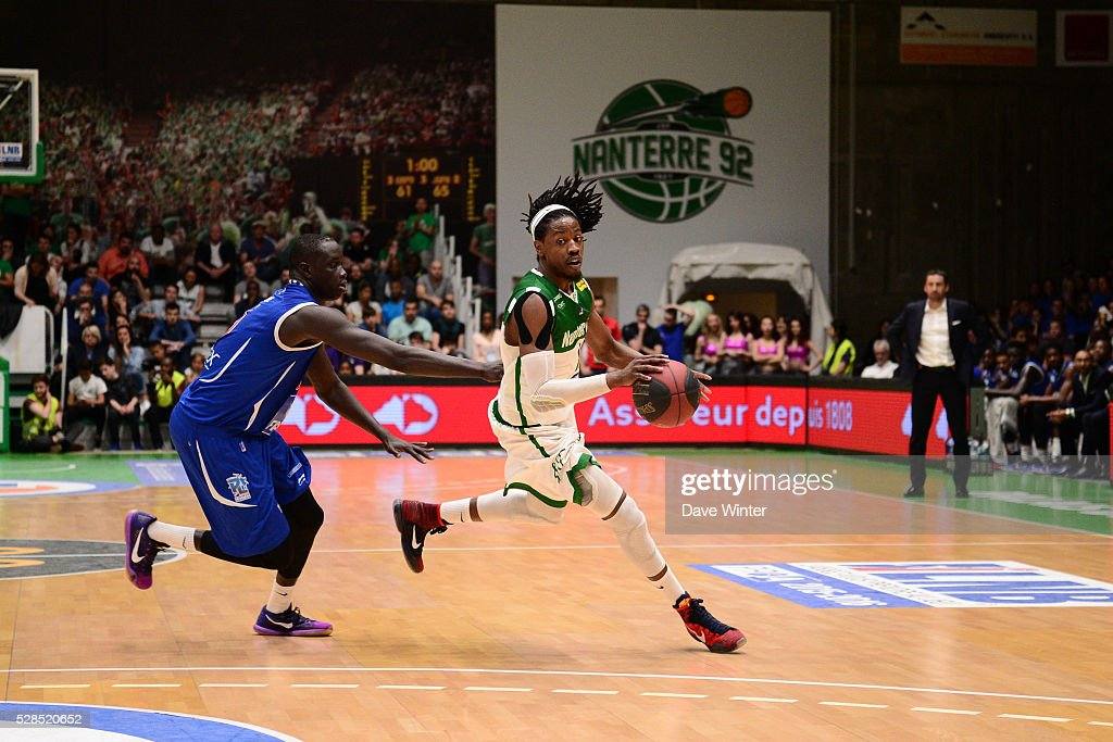 Mykal Riley of Nanterre and Maleye Ndoye of Paris Levallois during the basketball French Pro A League match between Nanterre and Paris Levallois on May 5, 2016 in Nanterre, France.