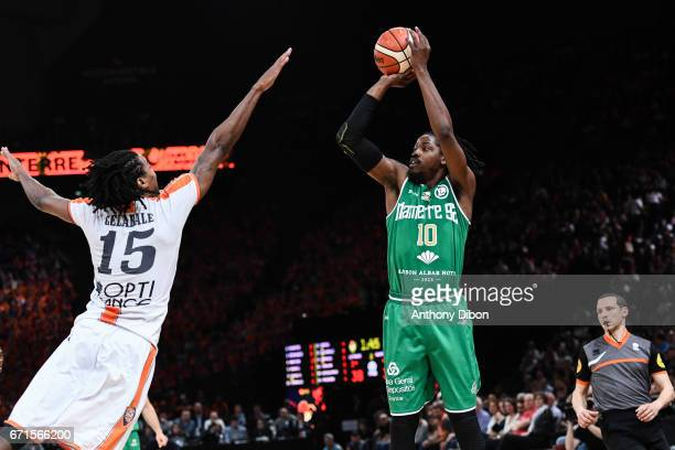 Mykal Riley of Nanterre during the Final of the French Cup between Le Mans and JSF Nanterre at AccorHotels Arena on April 22 2017 in Paris France