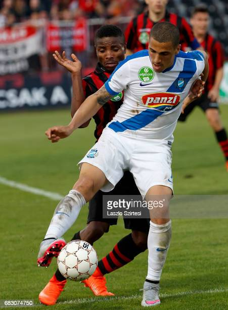 Myke Bouard Ramos of MTK Budapest wins the ball from Patrick Ikenne King of Budapest Honved during the Hungarian OTP Bank Liga match between Budapest...