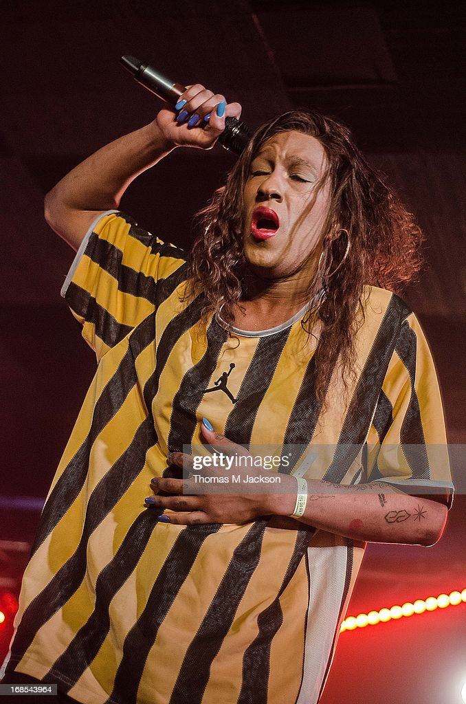 <a gi-track='captionPersonalityLinkClicked' href=/galleries/search?phrase=Mykki+Blanco&family=editorial&specificpeople=9565646 ng-click='$event.stopPropagation()'>Mykki Blanco</a> performs on stage on Day 1 of the ATP Weekender curated by TV On The Radio on May 10, 2013 in Camber, United Kingdom.
