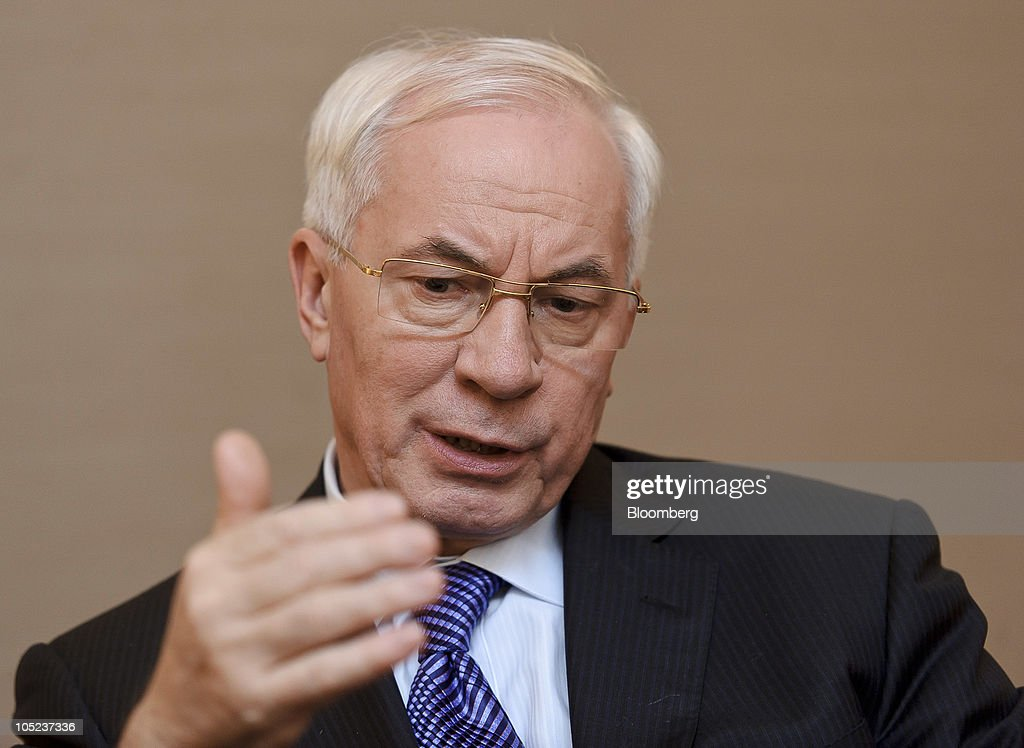 <a gi-track='captionPersonalityLinkClicked' href=/galleries/search?phrase=Mykola+Azarov&family=editorial&specificpeople=764965 ng-click='$event.stopPropagation()'>Mykola Azarov</a>, Ukraine's prime minister, speaks during an interview at the European Parliament building in Brussels, Belgium, on Wednesday, Oct. 13, 2010. Azarov said he would like to discuss a revision of the country's gas contract with Russia when he meets with Prime Minister Vladimir Putin on Oct. 27. Photographer: Jock Fistick/Bloomberg via Getty Images