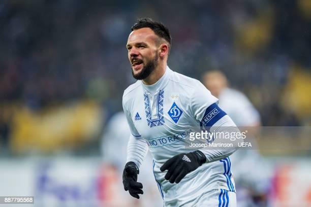 Mykola Morozyuk of FC Dynamo Kyiv celebrates his goal during the UEFA Europa League group B match between FC Dynamo Kyiv and FK Partizan Belgrade at...