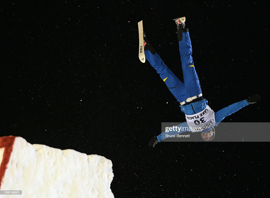 Mykola Puzderko #30 of the Ukraine jumps in the USANA Freestyle World Cup aerial competition at the Lake Placid Olympic Jumping Complex on January 19, 2013 in Lake Placid, New York.