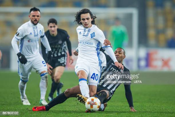 Mykola Shaparenko of FC Dynamo Kyiv is tackle during the UEFA Europa League group B match between FC Dynamo Kyiv and FK Partizan Belgrade at NSK...