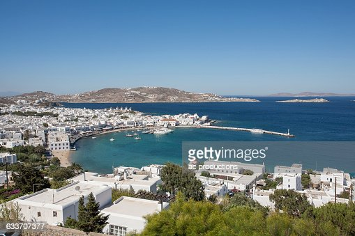 Mykonos cityscape and waterfront, Cyclades, Greece