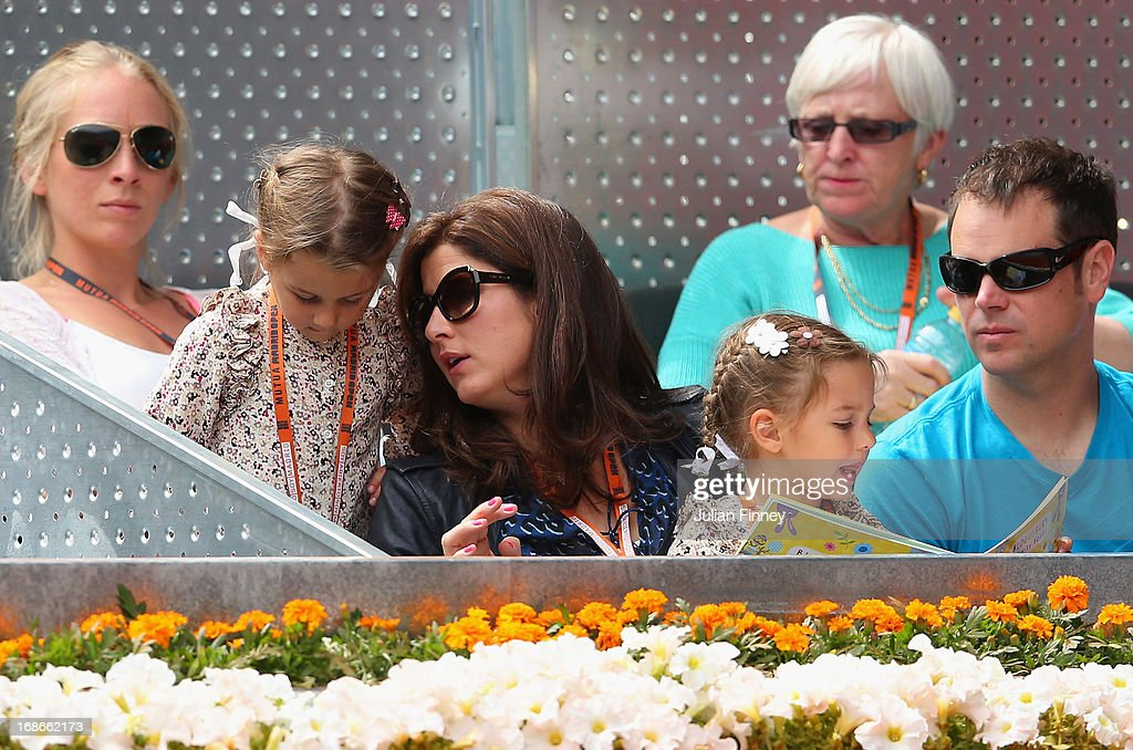 Myla Rose and Charlene Riva with mother <a gi-track='captionPersonalityLinkClicked' href=/galleries/search?phrase=Mirka+Federer&family=editorial&specificpeople=5876523 ng-click='$event.stopPropagation()'>Mirka Federer</a> watch as Roger Federer of Switzerland plays Radek Stepanek of Czech Republic during day four of the Mutua Madrid Open tennis tournament at the Caja Magica on May 7, 2013 in Madrid, Spain.