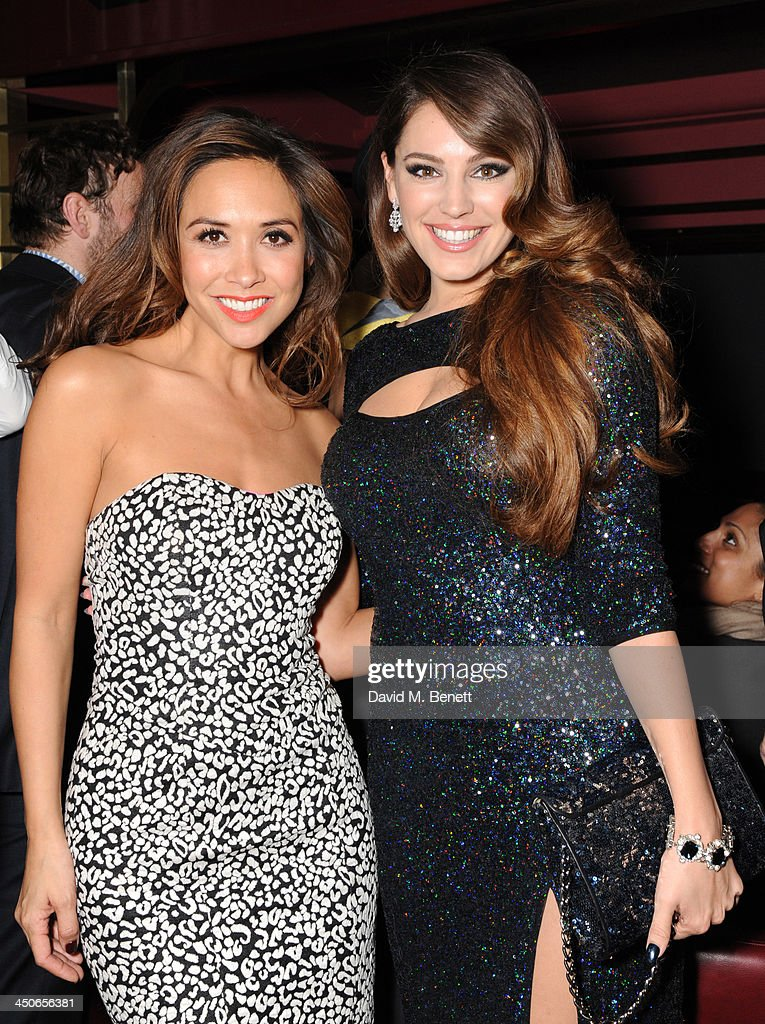 Myleen Klass and <a gi-track='captionPersonalityLinkClicked' href=/galleries/search?phrase=Kelly+Brook&family=editorial&specificpeople=206582 ng-click='$event.stopPropagation()'>Kelly Brook</a> attends the Steam And Rye launch party on November 19, 2013 in London, United Kingdom.