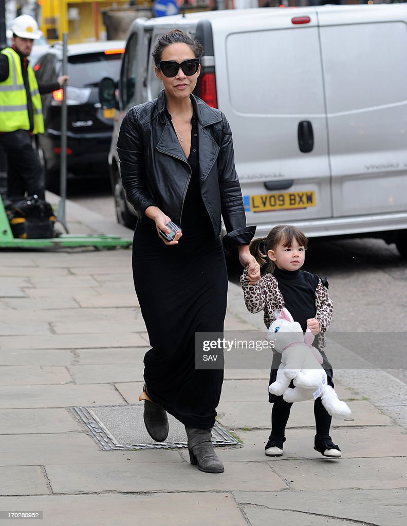 Myleene Klass and daughter pictured in Highgate on June 10, 2013 in London, England.