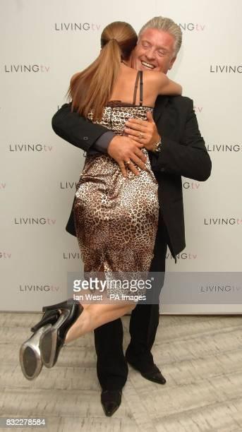 Myleene Klass and Derek Acorah hug at the Living TV Autumn/Winter 2006 programme launch held at the Nobu Restaurant in London