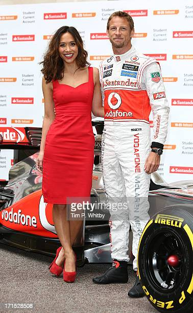 Myleene Klass and Jenson Button attends a photocall to launch Santander's 16 25 Railcard at British Medical Association on June 26 2013 in London...