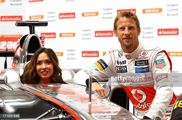 Myleene Klass and Jenson Button pose for the media during the Launch of the Santander 1625 Railcard at The British Medical Association on June 26...