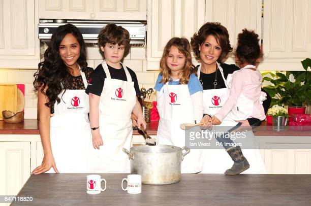 Myleene Klass and Natasha Kaplinsky launch the Save The Children Free From Hunger No Child Born To Die campaign with children Jamie Zoe and Iris at...