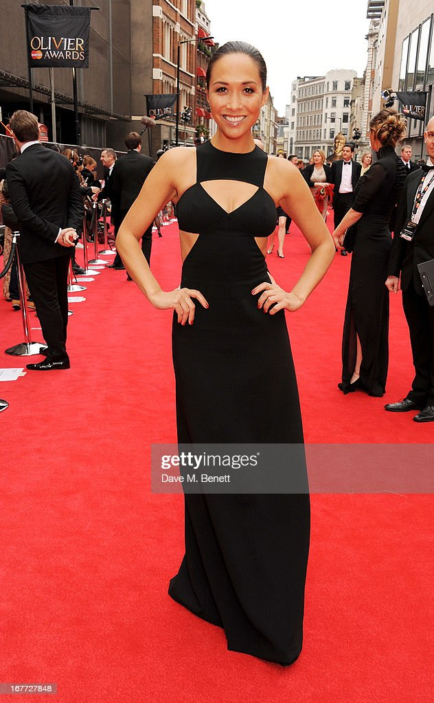 Myleene Klass arrives at The Laurence Olivier Awards 2013 at The Royal Opera House on April 28, 2013 in London, England.