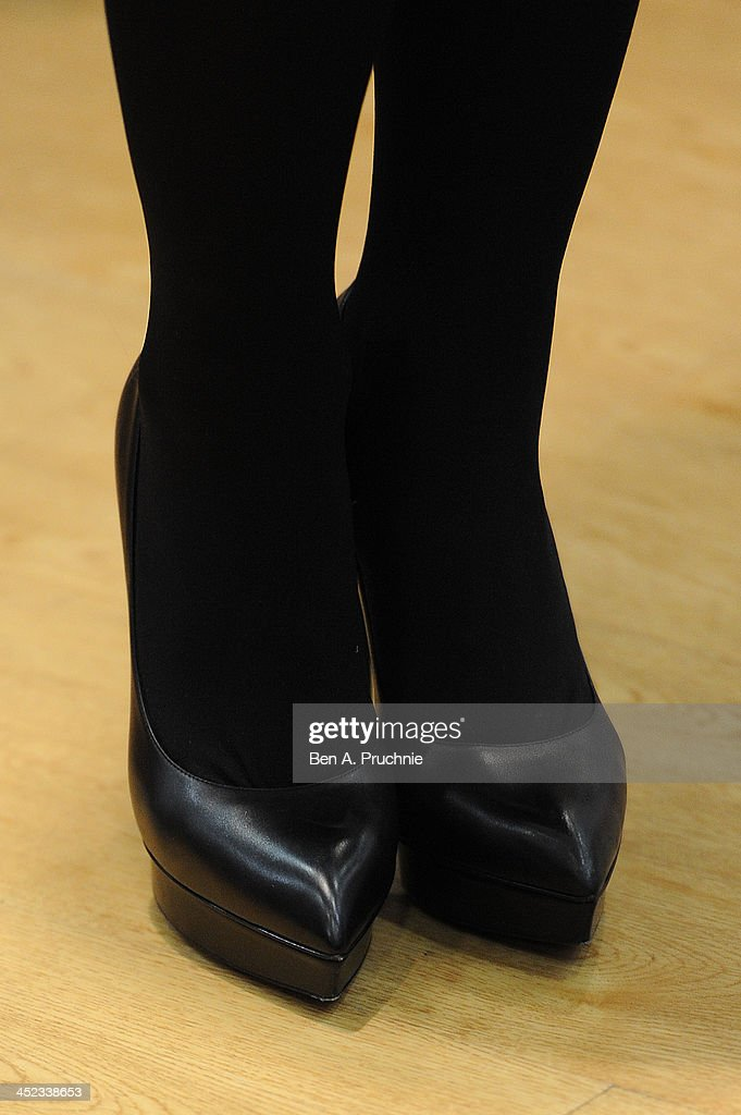 <a gi-track='captionPersonalityLinkClicked' href=/galleries/search?phrase=Myleene+Klass&family=editorial&specificpeople=201597 ng-click='$event.stopPropagation()'>Myleene Klass</a> (shoe detail) attends a photocall ahead of a VIP Christmas party at the newly refurbished store Mothercare Oxford Street on November 28, 2013 in London, England.