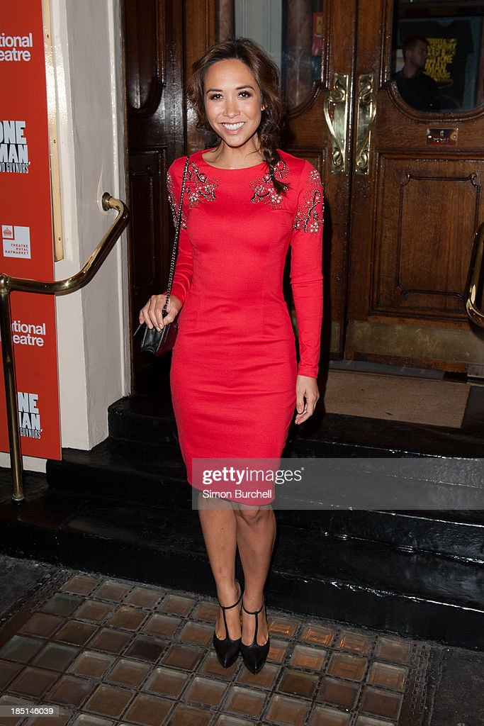 <a gi-track='captionPersonalityLinkClicked' href=/galleries/search?phrase=Myleene+Klass&family=editorial&specificpeople=201597 ng-click='$event.stopPropagation()'>Myleene Klass</a> attends the press night for the new cast of 'One Man, Two Guvnors' at Theatre Royal on October 17, 2013 in London, England.