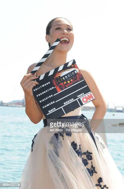 Myleene Klass is seen at a photocall for her CNN show the Screening Room on the Majestic Pier in Cannes France