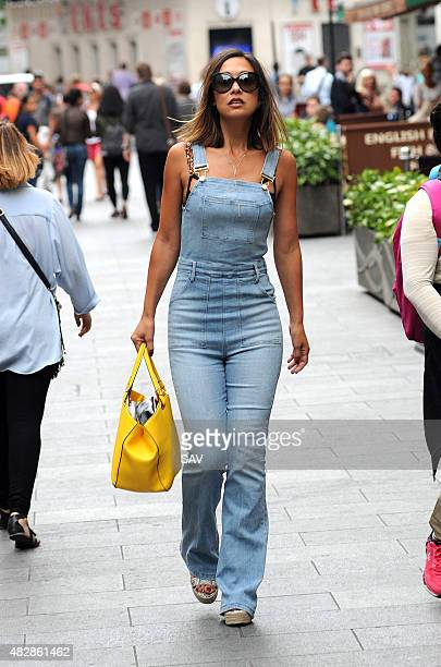 Myleene Klass leaves Global House on August 3 2015 in London England