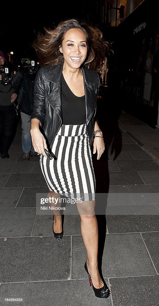 Myleene Klass leaving Amika Club on March 24, 2013 in London, England.