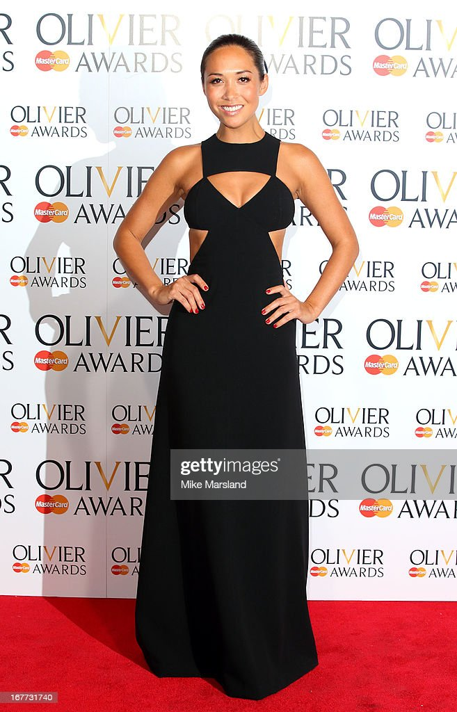 Myleene Klass poses in the press room at The Laurence Olivier Awards at The Royal Opera House on April 28, 2013 in London, England.