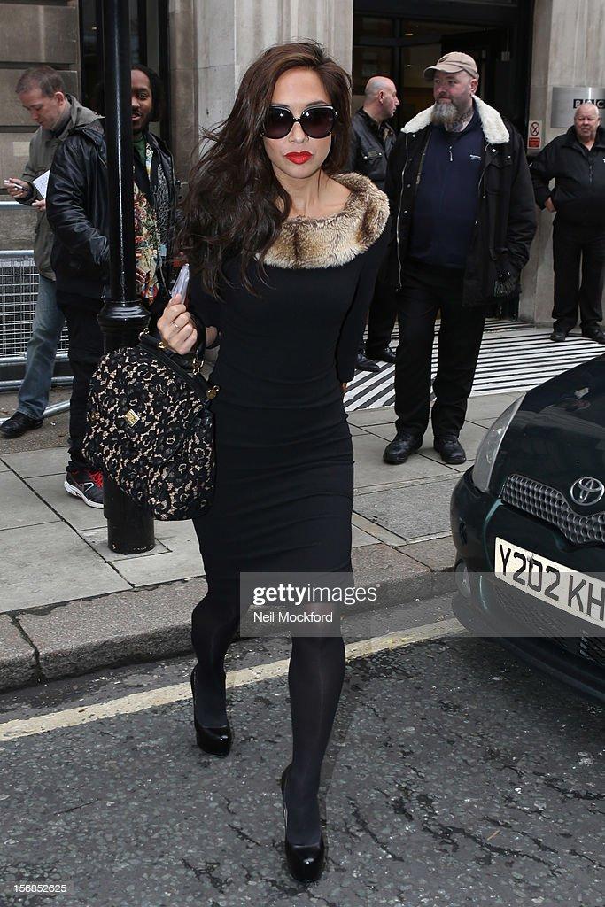 Myleene Klass seen at BBC Radio 2 on November 23, 2012 in London, England.