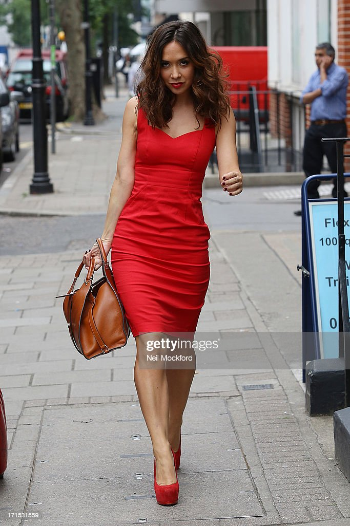 Myleene Klass seen heading to a studio on June 26, 2013 in London, England.
