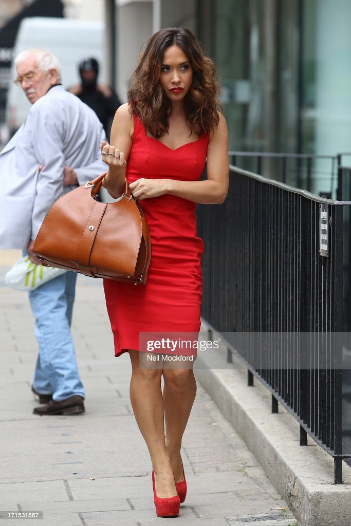 Myleene Klass seen heading to a studio on June 26, 2013 in London, England.