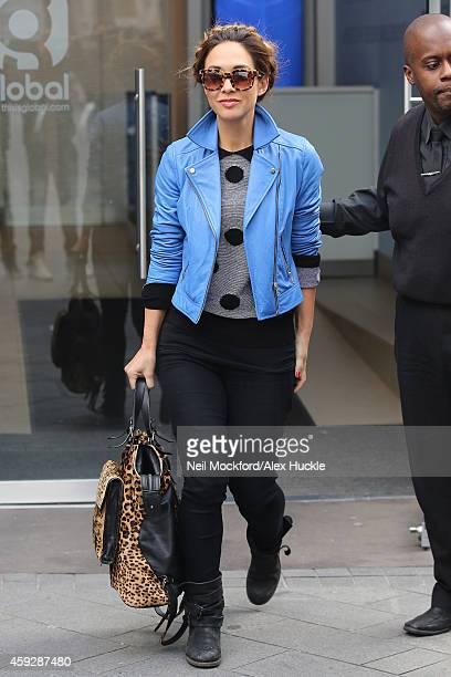 Myleene Klass seen leaving Global Radio after presenting Smooth FM on November 20 2014 in London England