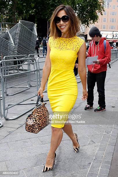 Myleene Klass seen leaving the Smooth Radio Studios on July 8 2015 in London England Photo by Neil Mockford/Alex Huckle/GC Images