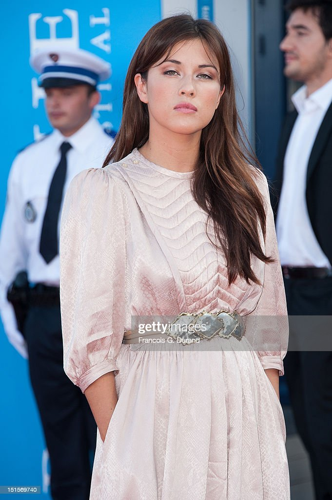 Mylene Jampanoi arrives at the closing ceremony of the 38th Deauville American Film Festival on September 8, 2012 in Deauville, France.