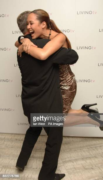Mylenne Klass and Derek Acorah hug at the Living TV Autumn/Winter 2006 programme launch held at the Nobu Restaurant in London