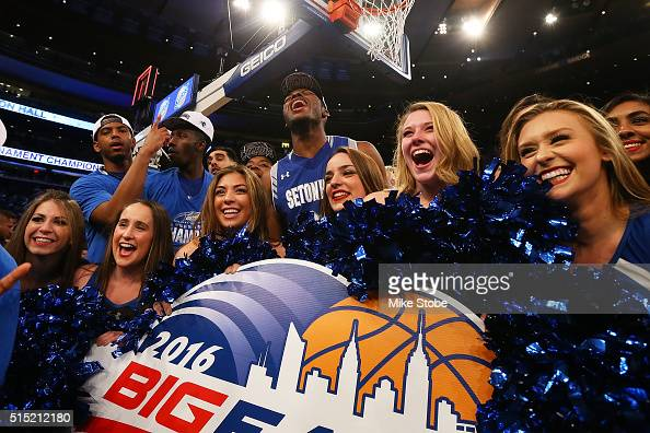 Myles Carter of the Seton Hall Pirates celebrates after defeating the Villanova Wildcats to win the Big East Basketball Tournament Championship at...