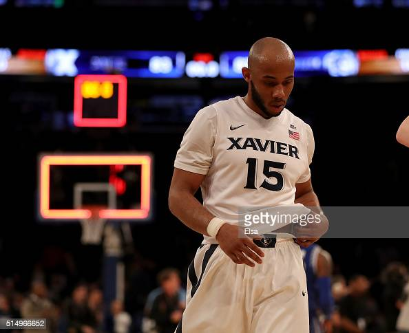 Myles Davis of the Xavier Musketeers walks off the court after the loss to the Seton Hall Pirates during the semifinals of the Big East Basketball...