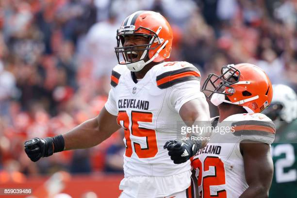 Myles Garrett of the Cleveland Browns reacts to a play against the New York Jets in the first quarter at FirstEnergy Stadium on October 8 2017 in...