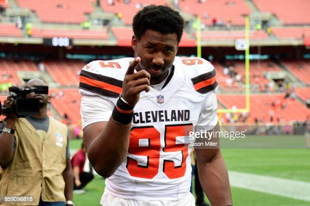 Myles Garrett of the Cleveland Browns walks off the field at the end of the game against the New York Jets at FirstEnergy Stadium on October 8 2017...